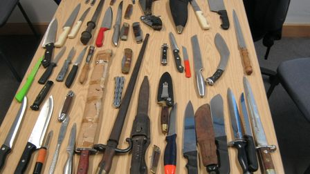 Knives handed in to Stevenage Police Station. Picture: Herts police