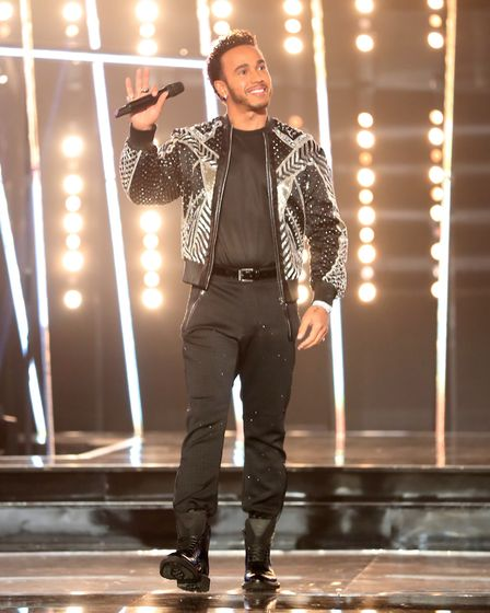 Lewis Hamilton on stage during the BBC Sports Personality of the Year 2018 at Birmingham Genting Are