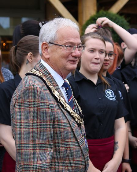 Biggleswade Mayor Michael North at the opening of McMullen and Sons new pub, The King's Reach. Pictu