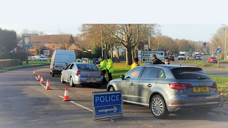Police stop vehicles on the A602 near Hooks Cross. Picture: Herts police.