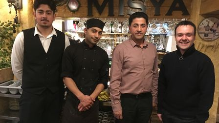 Stevenage MP Stephen McPartland with staff at Misya Meze and Grill. Picture: Kathie Painter