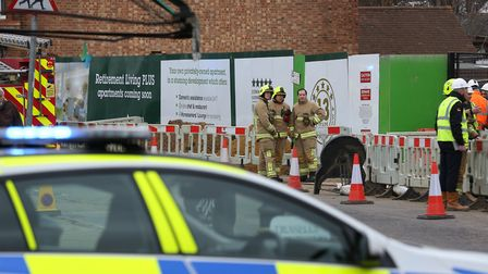Emergency services at the scene of an accident on the McCarthy and Stone building site in London Roa