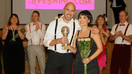 Strictly Come Jive & Swing 2018: Winning couple Harry Johnson and Sharon Brown with the trophy, Pict