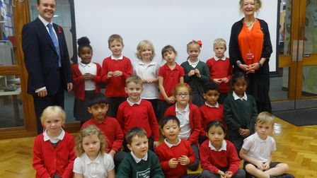 Stevenage MP Stephen McPartland with headteacher Rouane Mendel and the new school council members. P