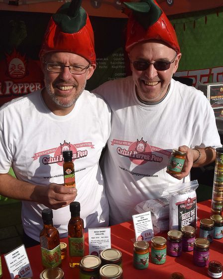 Hitchin Wine & Food Festival 2018. Brothers Martin and Paul Murrell of Chilli Pepper Pete. Picture: