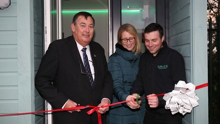 County councillor Terry Hone officially opens the new mindfulness room at Garden City Academy with p