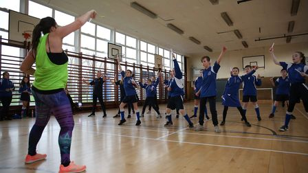 Clubbercise instructor Gabriella Curtis with some year seven pupils as part of the Barclay School Me