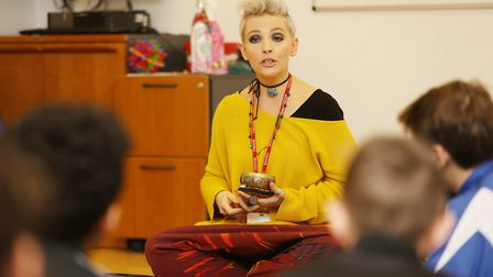 Mindfulness practicioner Paula Vale meditates with some year seven pupils as part of the Barclay Sch