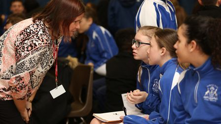 Young People's Public Health Officer Shelley Taylor talks to pupils as part of the Barclay School Me