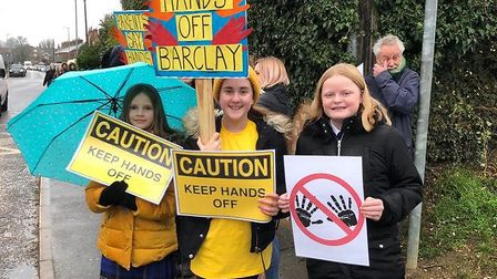 Staff from Stevenage's The Barclay School on strike. Picture: Angela Moore