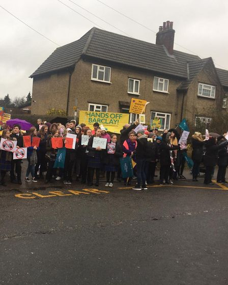 Staff from Stevenage's The Barclay School on strike. Picture: Jo Sutherland
