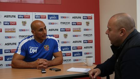 Comet sport reporter Layth Yousif speaks to Manager of Stevenage FC Dino Maamria at the Stevenage FC