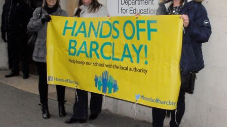 Parents of pupils at Stevenage's Barclay School deliver the petition to the Department for Education