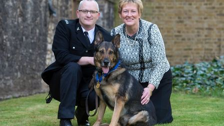 Police Dog Finn with PC Dave Wardell and PDSA director-general Jan McLoughlin. Picture: PDSA