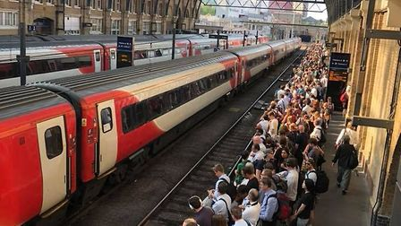 Cancellations and delays caused mass overcrowding on commuter trains to and from London. Picture: Ja