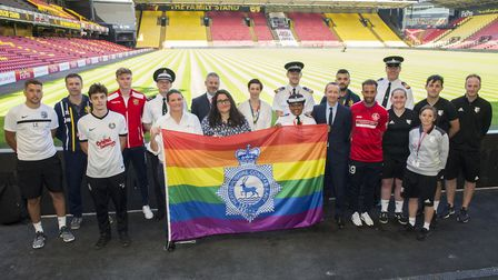 Representatives from the clubs, the FA and the police at Watford Football Club. Picture: Herts Poli