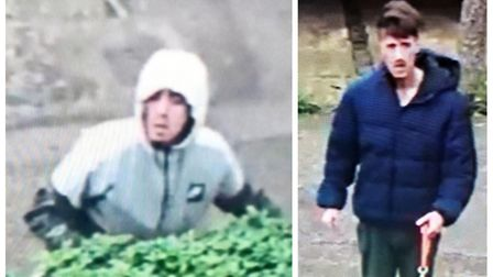 Officers would like to speak to the two men pictured as part of their enquiries into criminal damage