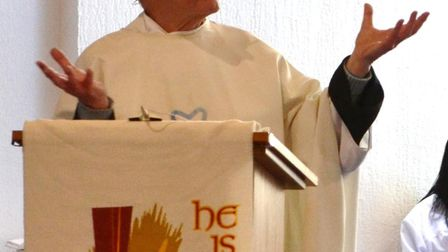 Father Michael Lambert preaching at church. Picture: Catholic church of Our Lady Immaculate & St And