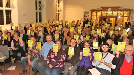 Members of the Stevenage community packed out Bunyan Baptist Church for a Hands Off Barclay public m