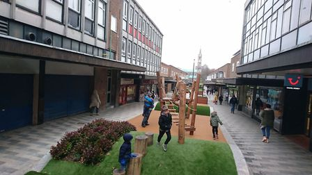 There is now dedicated seating, greenery and play equipment in Stevenage's Market Place. Picture: St