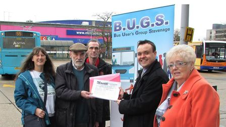 BUGS chairman Michael Downing hands Stevenage MP Stephen McPartland the petition signed by more than