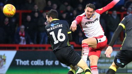 James Ball of Stevenage shoots over in search for his hat-trick in the League Two game between Steve
