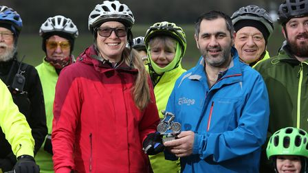 Penny Schenkel and Jason Morris with the Stevenage group of Cycling UK at Fairland Valley Park. Pict