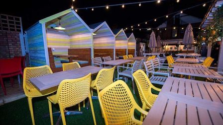 The beer garden at The Drapers Arms has been transformed, complete with beach hut booths and an outd