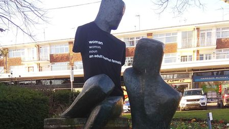 The Tete a Tete statue in Harpenden was dressed in a t-shirt stating the definition of 'woman'. Pict