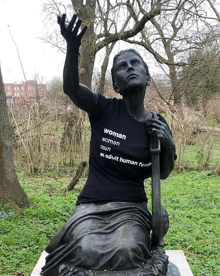 The Sappho statue in Letchworth's Howard Garden was used for the campaign. Picture: Herts Women Stan