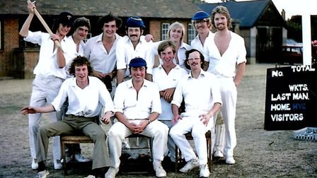 Knebworth Blues team of 1976 at Knebworth Recreation Ground. Keith Lander is second right, back row.