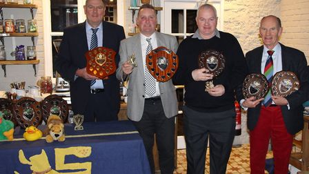 Dave Saunders, Roy Boon, David Baker and Roger Hickman with their trophies after the awards dinner.