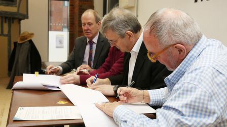 (Right to left) Hitchin Town Hall Ltd director Brent Smith, Hitchin Town Hall Ltd chairman and trust