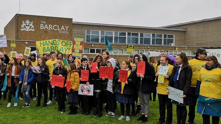 Staff from Stevenage's The Barclay School were joined by students when they went on strike for a sec