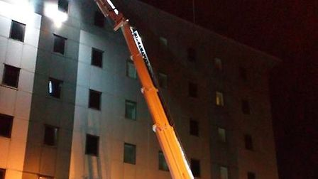 Emergency services attended the Holiday Inn in Stevenage when two metal panels were hanging dangerou