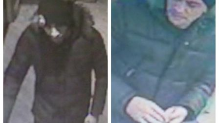 Police would like to speak to these men in connection with a purse theft from Costa Coffee in Steven