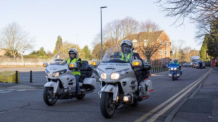 The procession for Sue Ing's funeral leaves Stevenage Funeral care with as escort of Honda Goldwing