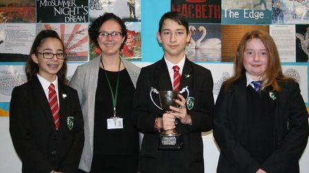 Students from the intermediate team won the first prize in a public speaking competition. Picture: F