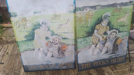 The old Bucks Head pub sign discovered in a Little Wymondley garden. Picture: Robbie Howard