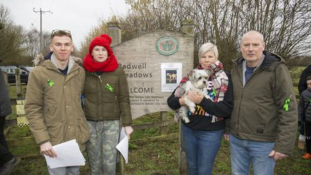 George and Ellie Morphew and Joanne and Phil Mitchell with their dog Tilly before setting out in sea