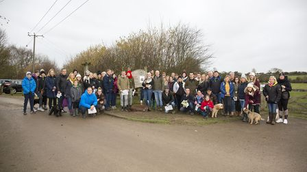 Volunteers gather at Radwell Meadows to search for missing dog, Ernie, on Saturday morning. Picture: