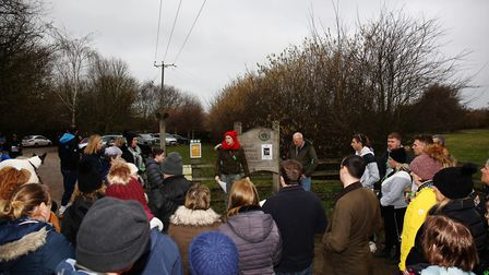 Ellie Morphew speaks to the group before setting out in search of Ernie on Saturday morning. Picture