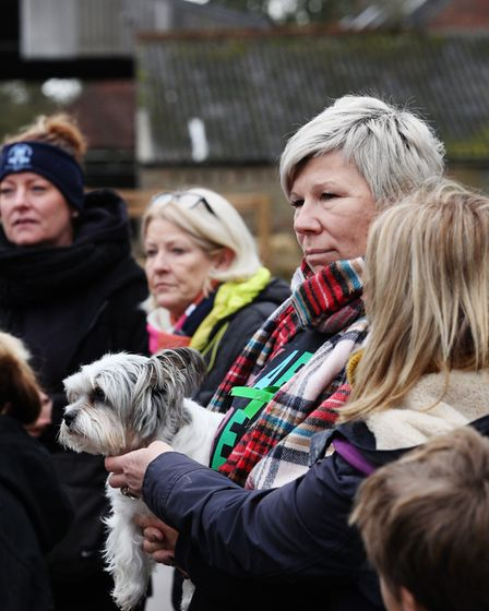 Joanne Mithchell with volunteers as they prepare to head off in search of her missing dog, Ernie. Pi