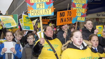 The rally against Barclay School academy plans marches through Stevenage Town Centre. Picture: DANNY