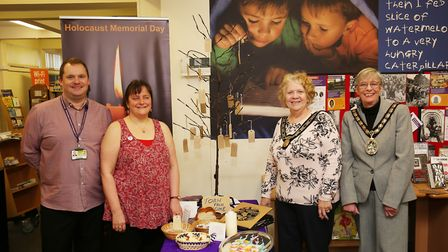 Mayoress Councillor Laurie Chester and mayor of Stevenage Councillor Margaret Notley with library st