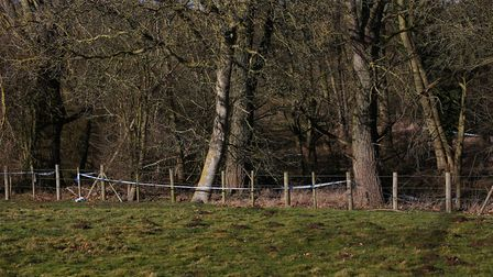 Police tape can be seen around the area in Charlton where a body was found over the weekend. Picture