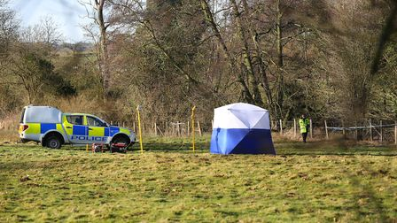 Police on the scene in Charlton where a body was found over the weekend. Picture: DANNY LOO