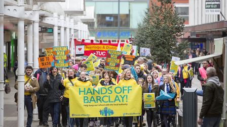 Hands Off Barclay campaigners marched from the school to the town centre last Saturday to protest ag