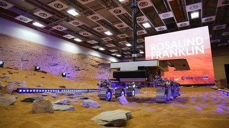 The newly named European Space Agency ExoMars rover, Rosalind Franklin, at the Mars Rover Naming Cer