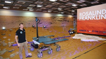 UK ESA Astronaut Tim Peake with the newly named European Space Agency ExoMars rover, Rosalind Frankl